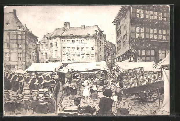 Künstler-AK Anton Pieck: Händler und ihre Stände auf einem Marktplatz