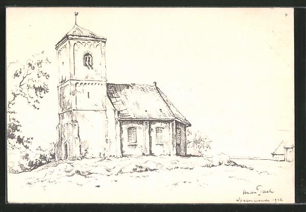 Künstler-AK Anton Pieck: Spaarnwoude, Blick auf die Kirche