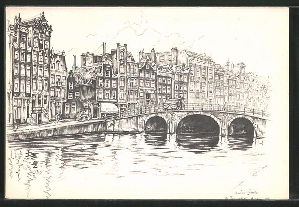 Künstler-AK Anton Pieck: Teilansicht einer Stadt mit Brücke und Häusern