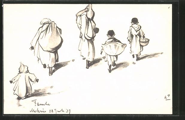 Künstler-AK Anton Pieck: Famille Meknès, Marokkaner mit Lasten