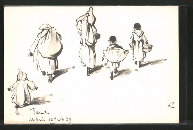 Künstler-AK Anton Pieck: Meknès, Marokkanische Familie mit Lasten