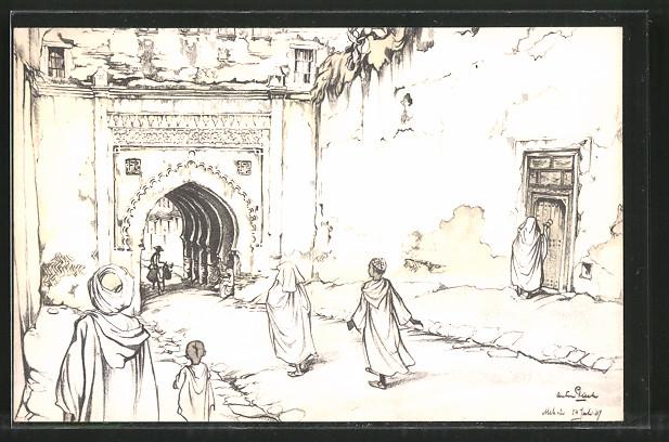 Künstler-AK Anton Pieck: Meknès, Szene auf einer Strasse der Stadt