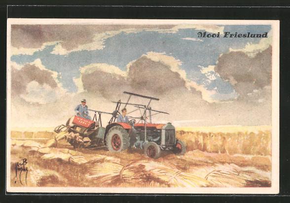 Künstler-AK Jacob Jansma: Traktor bei der Weizenernte