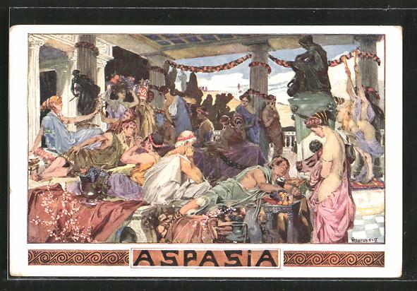 Künstler-AK Anton Marussig: Aspasia, Trinkgelage auf der Terrasse