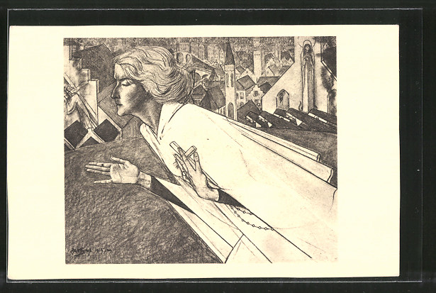 Künstler-AK Jan Toorop: Heilige mit Kreuz