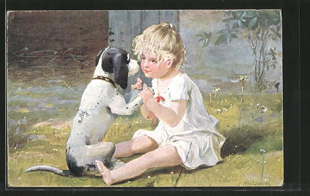 Künstler-AK E. Reckziegel: Mädchen mit ihrem Hund
