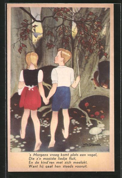 Künstler-AK Willy Schermele: Hans en Grietje ontdekken het koekhusje, Hänsel und Gretel