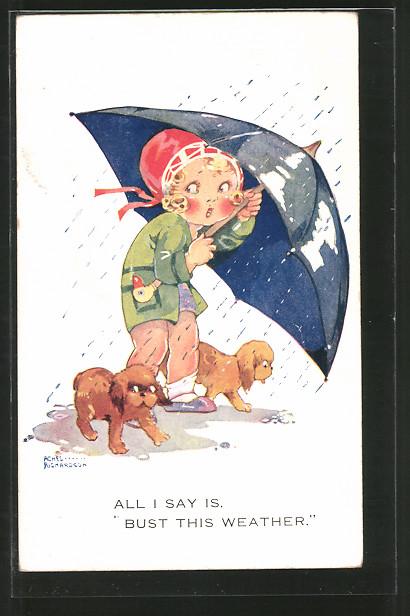 Künstler-AK Agnes Richardson: Mädchen schützt sich und Hunde mit dem Regenschirm
