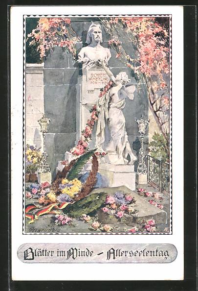 Künstler-AK Anton Marussig: Denkmal von Robert Hämerling, Blätter im Winde, Allerseelentag