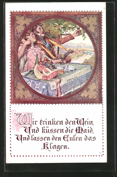 Künstler-AK Anton Marussig: Liebespaar trinkt Wein, Spruch: Wir trinken den Wein