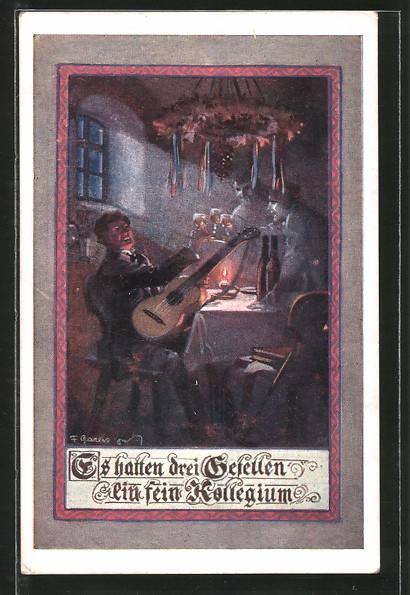 Künstler-AK F. Gareis: Es hatten drei Gesellen ein fein Kollegium, Gitarrenspieler