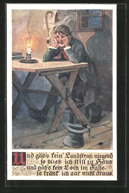 Künstler-AK F. Gareis: Wanderbursche sitzt an einem Tisch und raucht Pfeife