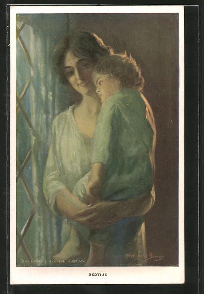 Künstler-AK Alfred James Dewey: Bedtime, Mutter trägt ihr Kind auf dem Arm