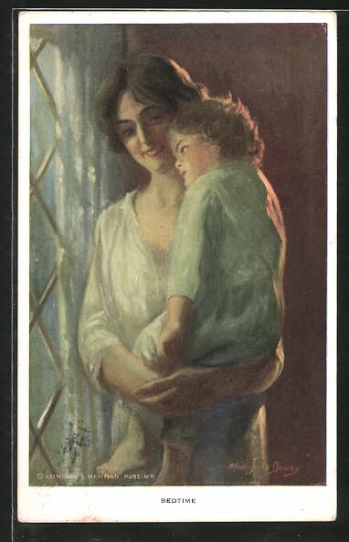 Künstler-AK Alfred James Dewey: Bedtime, Mutter trägt ihr Kind ins Bett