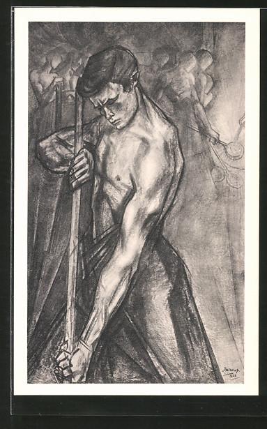 Künstler-AK Jan Toorop: De Ijzergieter, Eisengiesser bei der Arbeit