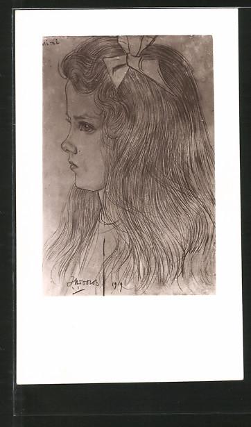 Künstler-AK Jan Toorop: Porträt eines Mädchens mit Schleife im Haar