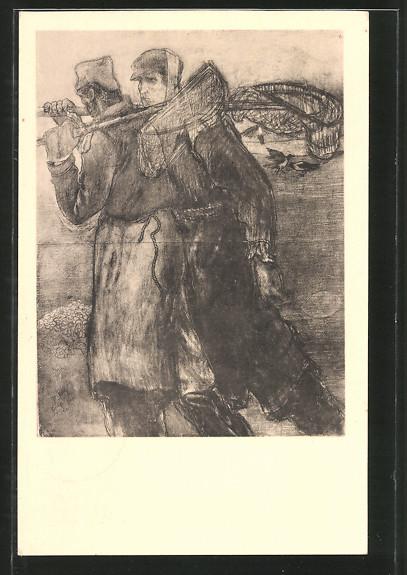 Künstler-AK Jan Toorop: Schelpenvisschers, Fischer