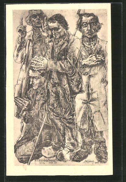 Künstler-AK Jan Toorop: Kersttriptiek III, De Herders, Schäfer im Gebet