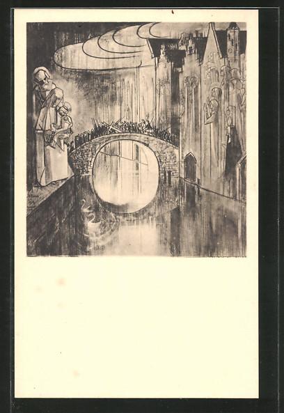 Künstler-AK Jan Toorop: Brugge of de Goddelijke liefdegang