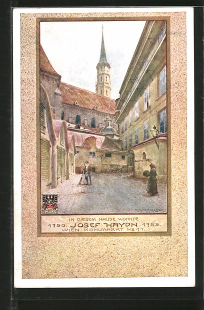 Künstler-AK Richard Moser: Wien, Wohnhaus v. Joseph Haydn, Kohlmarkt 11