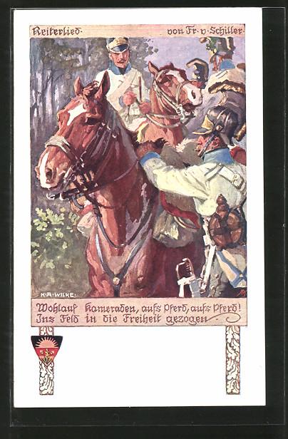 Künstler-AK Karl Alex Wilke: Deutscher Schulverein Nr. 527, Reiterlied, Kavalleristen in Uniform zu Pferde