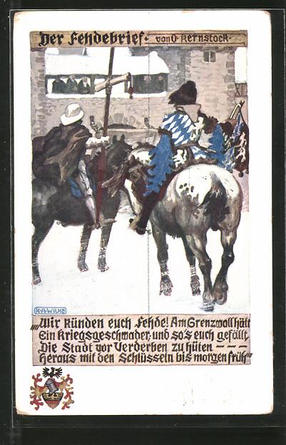 Künstler-AK Karl Alex Wilke: Der Fehdebrief, Ritter zu Pferde stehen vor der Stadtmauer