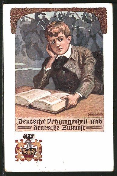 Künstler-AK Karl Alex Wilke: Deutsche Vergangenheit und deutsche Zukunft, Junge liest in einem Buch, Ritter