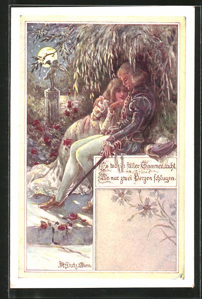 Künstler-AK Rud. Dutz: Liebespaar sitzt unter einem Baum im Mondschein, Amor
