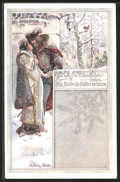 Künstler-AK Rud. Dutz: Liebespaar geht im Schnee spazieren