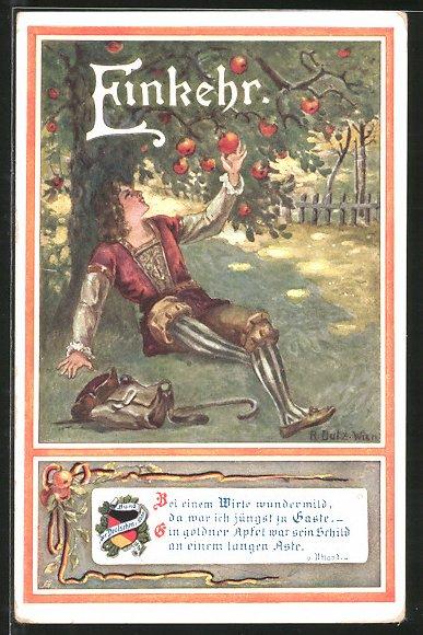 Künstler-AK Rud. Dutz: Einkehr, Wanderbursche pflückt einen Apfel vom Baum