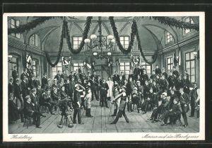 AK Heidelberg, Studenten bei einer Mensur auf der Hirschgasse, studentische Szene