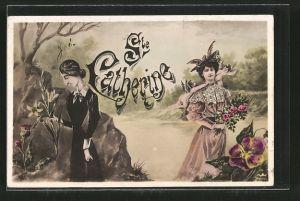 AK Namenstag Ste. Catherine, Frau im schwarzen Kleid und Frau mit Hut
