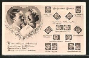 AK Briefmarkensprache, Verliebtes Paar,