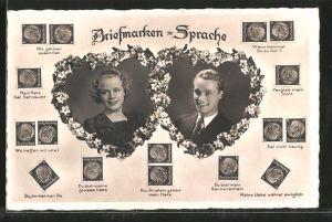 AK Briefmarkensprache, Verliebtes Paar