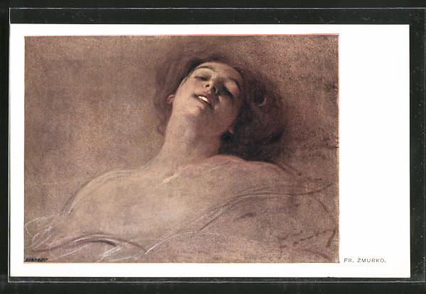 Künstler-AK Franciszek Zmurko: Hübsche Frau mit sinnlichem Lächeln