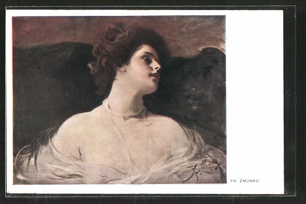 Künstler-AK Franciszek Zmurko: Fräulein mit dunklem Haar und fahler Haut