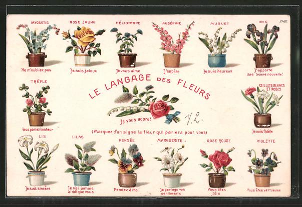 Präge-AK Le Langage des Fleurs, Blumensprache, Je vous adore!