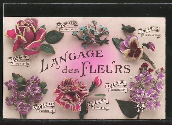 AK Langage des Fleurs, Blumensprache, Myosotis, Pensée, Rose, Lilas, Oeillet, Violette