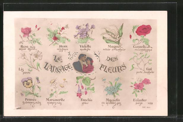 AK Le Langage des fleurs, Blumensprache, Liebespaar und verschiedene Blüten