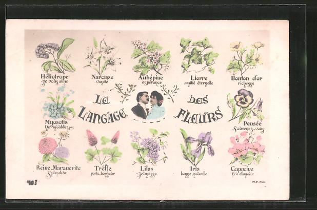 AK Le Langage des fleurs, Blumensprache, verschiedene Blüten und Liebespaar