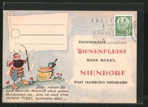 AK Niendorf, Honighaus Bienenfleiss, Hans Kogel, Biene mit Pfeife