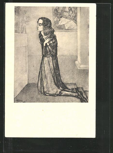 Künstler-AK Jan Toorop: Overgave, Betende Frau