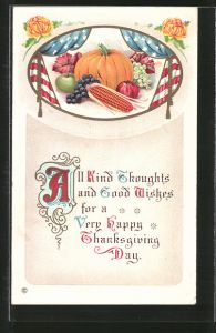 AK All kind Thoughts and Good Wishes for a Very Happy Thanksgiving Day, Kürbis und Stars & Stripes
