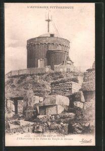 AK L'Observatoire de la Puy-de-Dome, Observatorium und Ruinen des Merkurrempels
