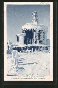 AK Fonte du givre recouvrant la Tour de l'Observatoire de la Puy-de-Dome, Vereistes Observatorium