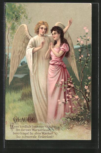 Präge-AK Glaube, Wenn kindlich frommer Glaube..., Engel und Mädchen