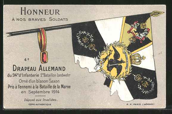 AK Drapeau Allemand du 94e d'Infanterie 2e Bataillon-Landwehr, In der Marne eroberte deutsche Fahne