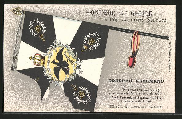 AK Drapeau Allemand du 85e d'Infanterie 1er Bataillon-Landwehr, Eroberte deutsche Fahne