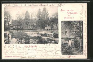 AK Strausberg, Gasthaus Schlagmühle, Wasserfall