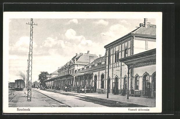AK Szolnok, Vasuti állomás, Bahnhof